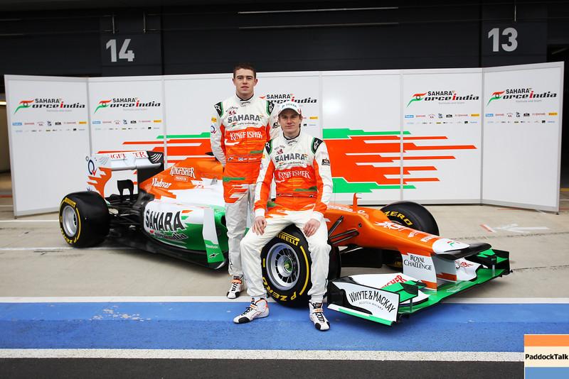 Nico Hulkenberg (GER) and Paul di Resta (GBR) . Sahara Force India Formula One Team - VJM05 Launch - Silverstone, UK, 03.02.2012 -  Sahara Force India Formula One Team Copyright Free Image