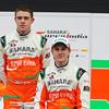 Paul di Resta (GBR) and Nico Hulkenberg (GER),  Sahara Force India Formula One Team - VJM05 Launch - Silverstone, UK, 03.02.2012 -  Sahara Force India Formula One Team Copyright Free Image