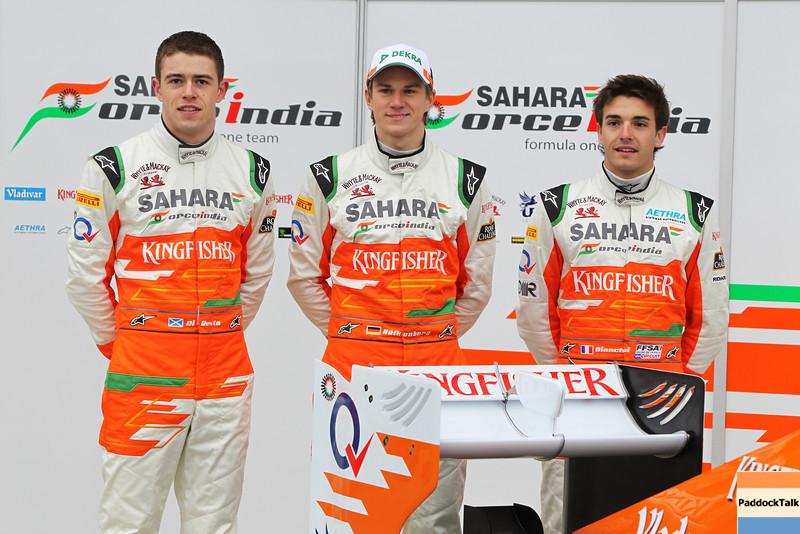 Paul di Resta (GBR), Nico Hulkenberg (GER), and Jules Bianchi (FRA)  -  Sahara Force India Formula One Team - VJM05 Launch - Silverstone, UK, 03.02.2012 -  Sahara Force India Formula One Team Copyright Free Image
