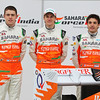 Paul di Resta (GBR), Nico Hulkenberg (GER), and Jules Bianchi (FRA)  -  Sahara Force India Formula One Team - VJM05 Launch - Silverstone, UK, 03.02.2012 -  Sahara Force India Formula One Team Copyright Free Image