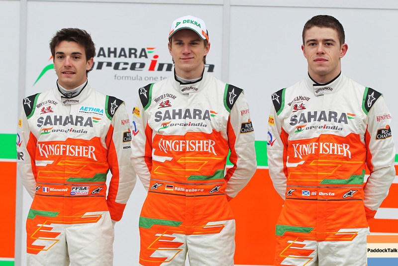 Paul di Resta (GBR), Nico Hulkenberg (GER), and Jules Bianchi (FRA) Sahara Force India Formula One Team - VJM05 Launch - Silverstone, UK, 03.02.2012 -  Sahara Force India Formula One Team Copyright Free Image