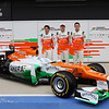 Jules Bianchi (FRA) with Nico Hulkenberg (GER) and Paul di Resta (GBR) -  Sahara Force India Formula One Team - VJM05 Launch - Silverstone, UK, 03.02.2012 -  Sahara Force India Formula One Team Copyright Free Image
