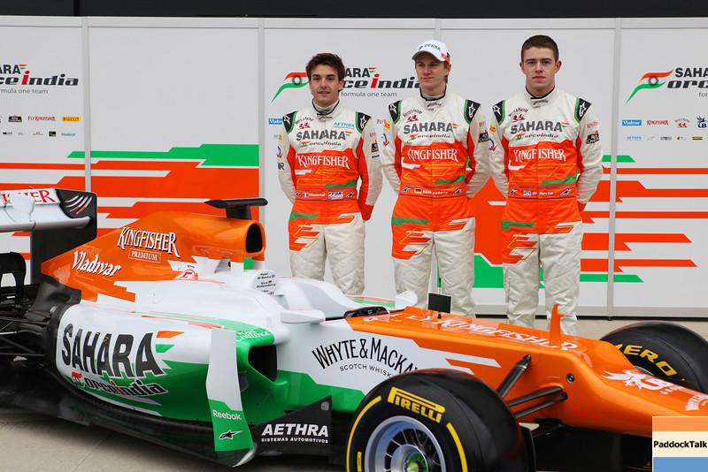 Jules Bianchi (FRA) with Nico Hulkenberg (GER) and Paul di Resta (GBR) -  Sahara Force India Formula One Team - VJM05 Launch - Silverstone, UK, 03.02.2012 -  Sahara Force India Formula One Team Copyright Free Image