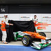 Nico Hulkenberg (GER) and Paul di Resta (GBR) unveil the VJM05. <br /> Sahara Force India Formula One Team Launch, Silverstone, UK. 3 February 2012. <br /> Sahara Force India Formula One Team Copyright Free Image.