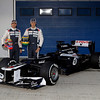 2012 Williams FW34 Launch<br /> Circuito de Jerez, Jerez de la Frontera, Spain<br /> 7th February 2012<br /> Bruno Senna and Pastor Maldonado pose with the new Williams FW34 Renault. Images Courtesy Of Their Respective Teams