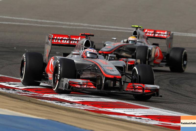 Jenson Button and Lewis Hamilton at Bahrain GP PaddockTalk/Courtesy Of McLaren