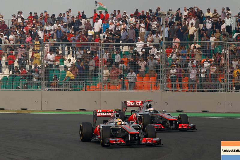 Lewis Hamilton and Jenson Button at Indian GP PaddockTalk/Courtesy Of McLaren