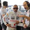 Lewis Hamilton and Phil Prew at European GP PaddockTalk/Courtesy Of McLaren