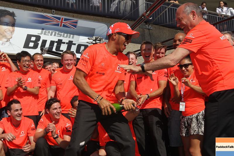 Team of Vodafone McLaren Mercedes celebreates victory of Lewis Hamilton at Canadian GP PaddockTalk/Courtesy Of McLaren
