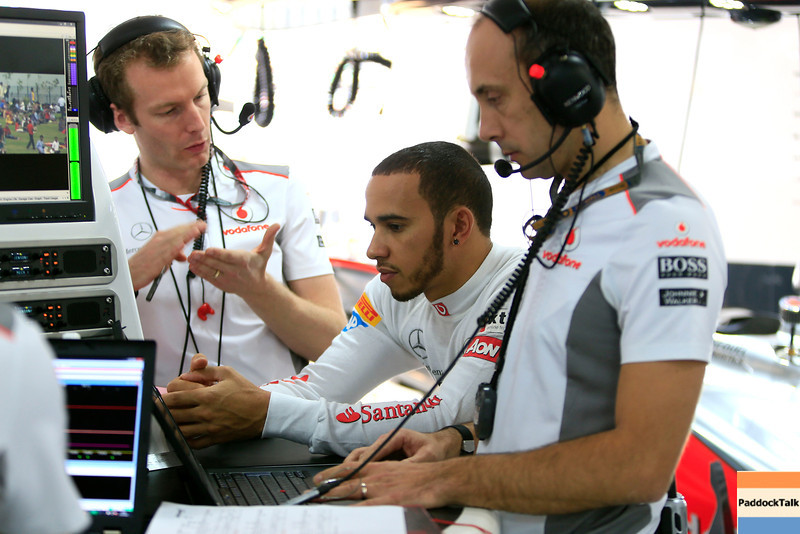 Lewis Hamilton and Phil Prew at Indian GP PaddockTalk/Courtesy Of McLaren