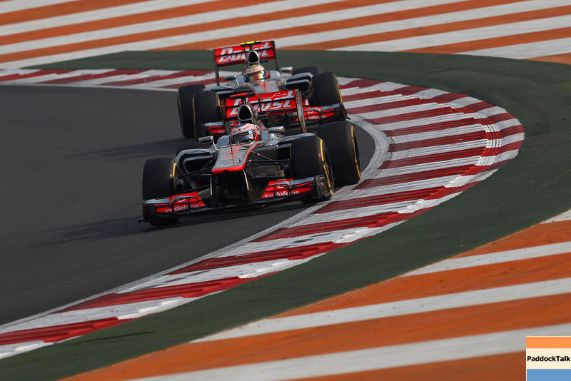 Jenson Button and Lewis Hamilton at Indian GP PaddockTalk/Courtesy Of McLaren