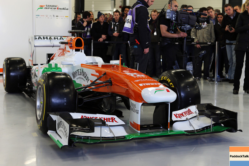 The new Sahara Force India F1 VJM06.<br /> Sahara Force India F1 VJM06 Launch, Friday 1st February 2013. Silverstone, England.