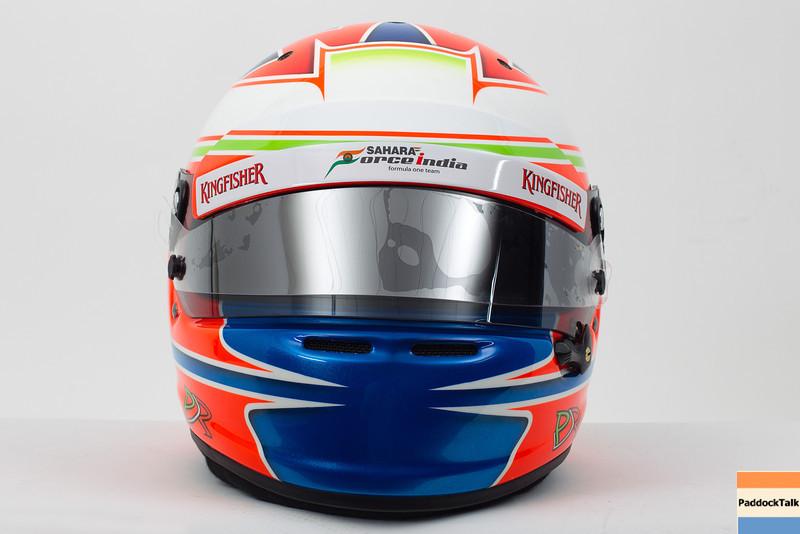 The helmet of Paul di Resta (GBR) Sahara Force India F1.<br /> Sahara Force India F1 Driver Studio Shoot, Thursday 31st January 2013. Silverstone, England.