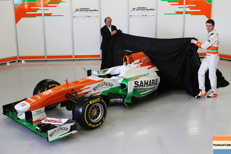 Robert Fearnley (GBR) Sahara Force India F1 Team Deputy Team Principal and Paul di Resta (GBR) Sahara Force India F1 unveil the new Sahara Force India F1 VJM06.<br /> Sahara Force India F1 VJM06 Launch, Friday 1st February 2013. Silverstone, England.