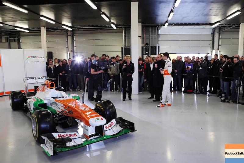 Paul di Resta (GBR) Sahara Force India VJM06 with Sky Sports F1.<br /> Sahara Force India F1 VJM06 Launch, Friday 1st February 2013. Silverstone, England.