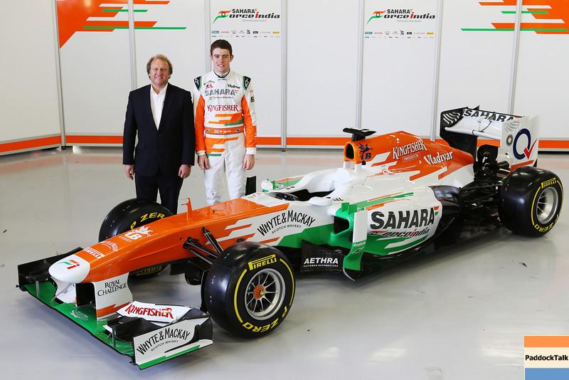 Robert Fearnley (GBR) Sahara Force India F1 Team Deputy Team Principal and Paul di Resta (GBR) Sahara Force India F1 with the new Sahara Force India F1 VJM06.<br /> Sahara Force India F1 VJM06 Launch, Friday 1st February 2013. Silverstone, England.