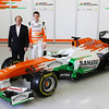 Robert Fearnley (GBR) Sahara Force India F1 Team Deputy Team Principal and Paul di Resta (GBR) Sahara Force India F1 with the new Sahara Force India F1 VJM06.<br /> Sahara Force India F1 VJM06 Launch, Friday 1st February 2013. Silverstone, England.