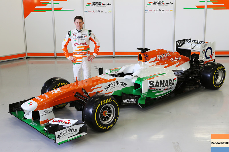 Paul di Resta (GBR) Sahara Force India F1 with the new Sahara Force India F1 VJM06.<br /> Sahara Force India F1 VJM06 Launch, Friday 1st February 2013. Silverstone, England.