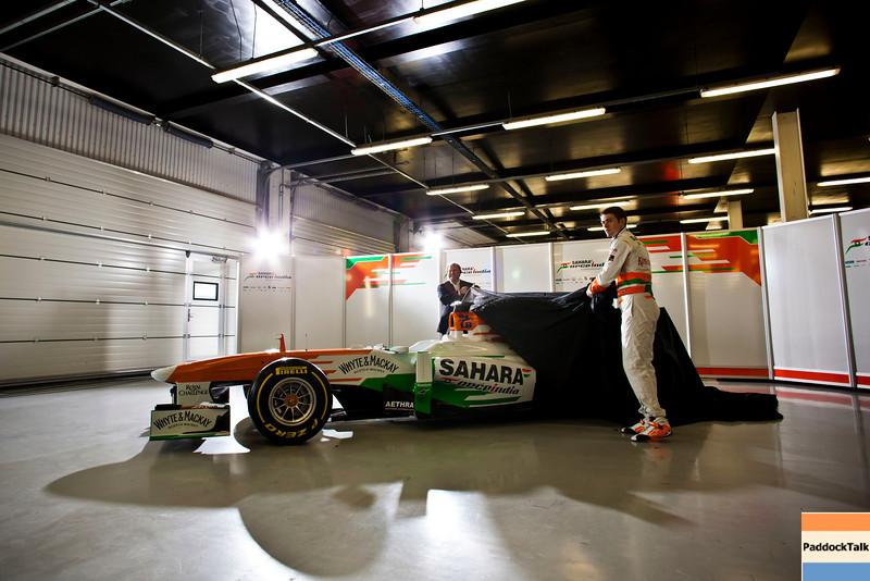 Robert Fernley (GBR) Sahara Force India F1 Team Deputy Team Principal and Paul di Resta (GBR) Sahara Force India F1 unveil the Sahara Force India F1 VJM06.<br /> Sahara Force India F1 VJM06 Launch, Friday 1st February 2013. Silverstone, England.