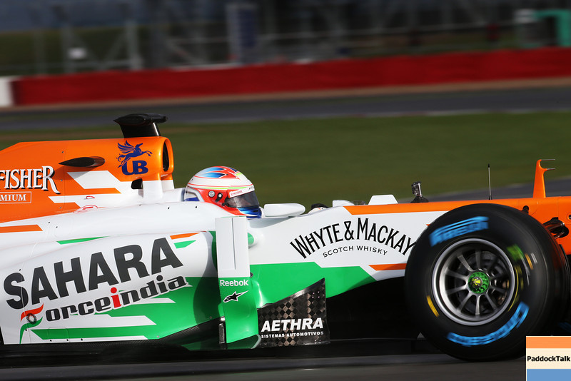 Paul di Resta (GBR) rund the Sahara Force India VJM06 for the first time.<br /> Sahara Force India F1 VJM06 Launch, Friday 1st February 2013. Silverstone, England.