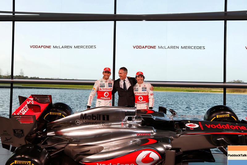 McLaren Technology Centre, Surrey, UK<br /> 31st January 2013 <br /> Jenson Button, McLaren, Martin Whitmarsh, Team Principal, McLaren and Sergio Perez, McLaren.<br /> Photo: Vodafone McLaren Mercedes (Copyright Free FOR EDITORIAL USE ONLY) <br /> ref: Digital Image _N7T0149