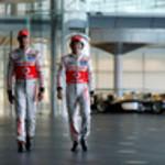 McLaren Technology Centre, Surrey, UK<br /> 31st January 2013 <br /> Jenson Button, McLaren and Sergio Perez, McLaren.<br /> Photo: Vodafone McLaren Mercedes (Copyright Free FOR EDITORIAL USE ONLY) <br /> ref: Digital Image _N7T0216