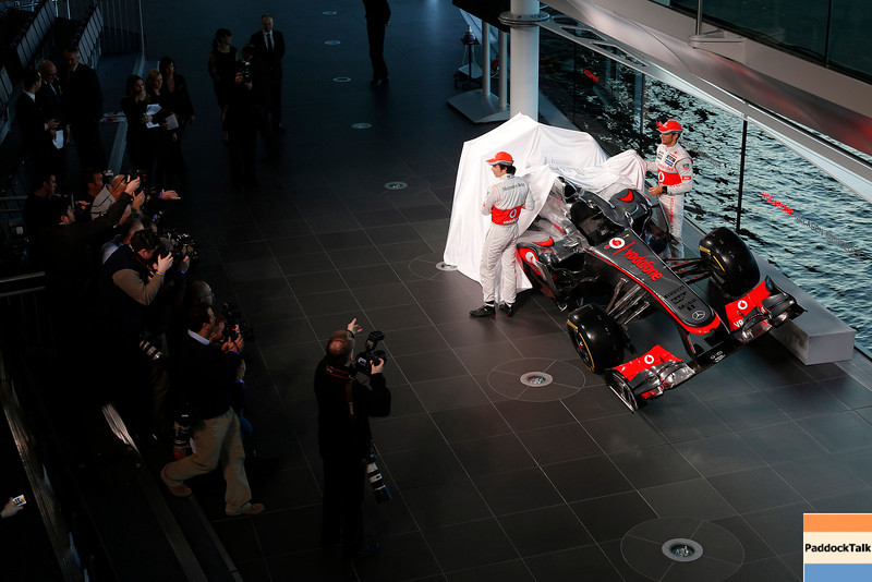 McLaren Technology Centre, Surrey, UK<br /> 31st January 2013 <br /> Sergio Perez, McLaren and Jenson Button, McLaren.<br /> Photo: Vodafone McLaren Mercedes (Copyright Free FOR EDITORIAL USE ONLY) <br /> ref: Digital Image _R6T6192