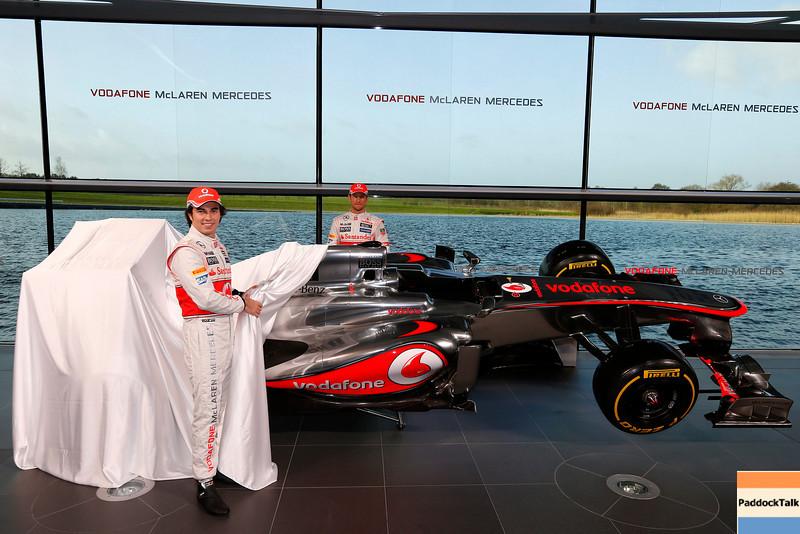 McLaren Technology Centre, Surrey, UK<br /> 31st January 2013 <br /> Sergio Perez, McLaren and Jenson Button, McLaren.<br /> Photo: Vodafone McLaren Mercedes (Copyright Free FOR EDITORIAL USE ONLY) <br /> ref: Digital Image _N7T0096