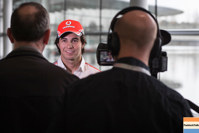Reportage shots of Sergio's media day, including posed shots with Martin Whitmarsh