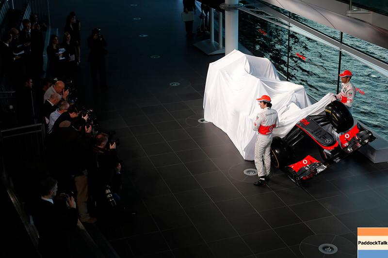 McLaren Technology Centre, Surrey, UK<br /> 31st January 2013 <br /> Sergio Perez, McLaren and Jenson Button, McLaren.<br /> Photo: Vodafone McLaren Mercedes (Copyright Free FOR EDITORIAL USE ONLY) <br /> ref: Digital Image _R6T6176