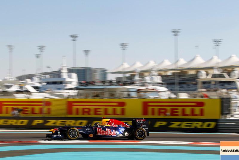 2011 Abu Dhabi Grand Prix - Friday<br /> Yas Marina Circuit, Abu Dhabi, United Arab Emirates<br /> 11th November 2011.<br /> Sebastian Vettel, Red Bull Racing RB7 Renault. <br /> Photo: Andrew Ferraro/LAT Photographic <br /> ref: Digital Image _Q0C4981