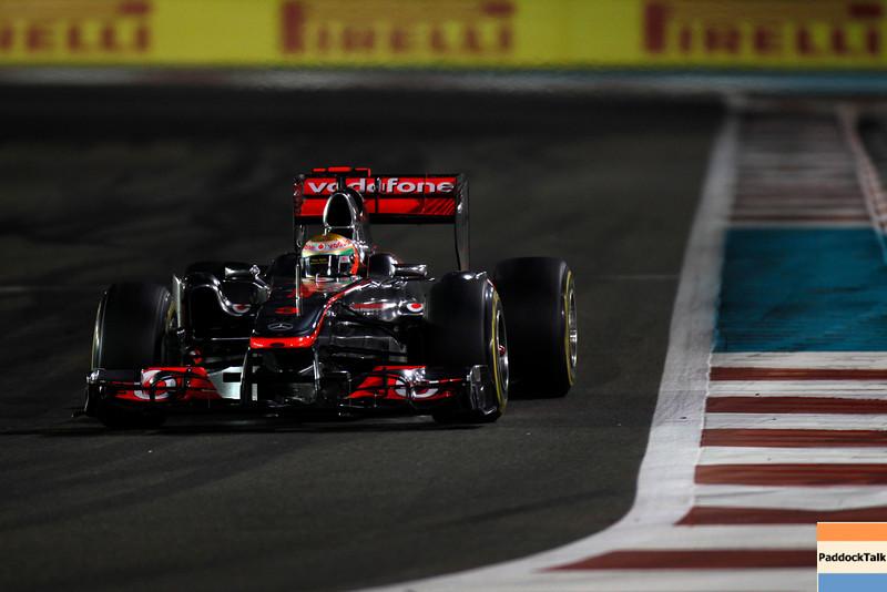 2011 Abu Dhabi Grand Prix - Sunday<br /> Yas Marina Circuit, Abu Dhabi, United Arab Emirates<br /> 13th November 2011.<br /> Lewis Hamilton, McLaren MP4-26 Mercedes. <br /> Photo: Glenn Dunbar/LAT Photographic <br /> ref: Digital Image _G7C5686