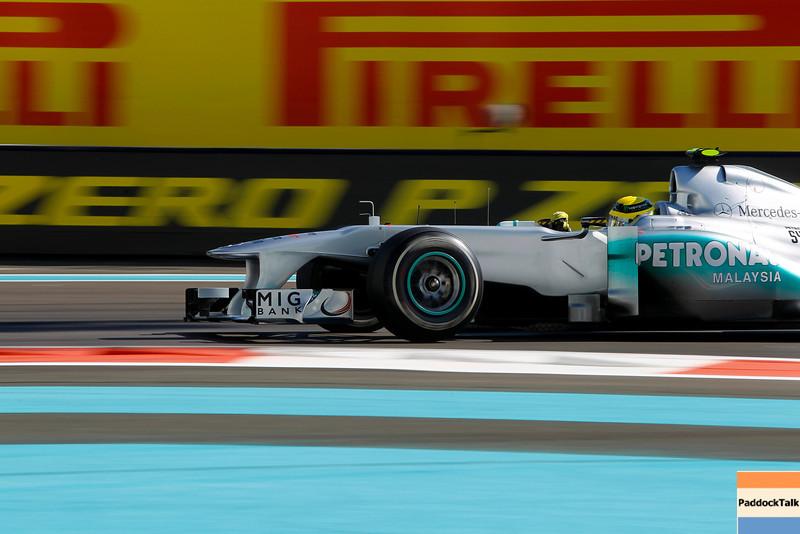 2011 Abu Dhabi Grand Prix - Friday<br /> Yas Marina Circuit, Abu Dhabi, United Arab Emirates<br /> 11th November 2011.<br /> Nico Rosberg, Mercedes GP W02. <br /> Photo: Andrew Ferraro/LAT Photographic <br /> ref: Digital Image _Q0C5003
