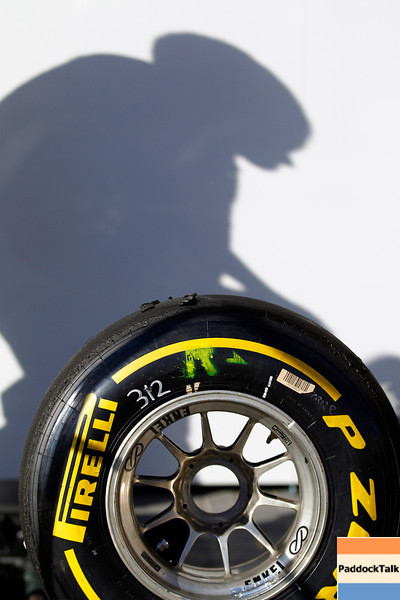 2011 Abu Dhabi Grand Prix - Saturday<br /> Yas Marina Circuit, Abu Dhabi, United Arab Emirates<br /> 12th November 2011.<br /> A Pirelli tyre<br /> Photo: Steven Tee/LAT Photographic <br /> ref: Digital Image _A8C4412