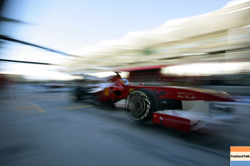2011 Abu Dhabi Grand Prix - Friday<br /> Yas Marina Circuit, Abu Dhabi, United Arab Emirates<br /> 11th November 2011.<br /> Fernando Alonso, Ferrari 150° Italia. <br /> Photo: Lorenzo Bellanca/LAT Photographic <br /> ref: Digital Image ZD2J7203