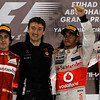 2011 Abu Dhabi Grand Prix - Sunday<br /> Yas Marina Circuit, Abu Dhabi, United Arab Emirates<br /> 13th November 2011.<br /> Fernando Alonso, Ferrari 150° Italia, Vodafone McLaren Mercedes engineer, Lewis Hamilton, McLaren MP4-26 Mercedes and Jenson Button, McLaren MP4-26 Mercedes. <br /> Photo: Andrew Ferraro/LAT Photographic <br /> ref: Digital Image _Q0C9338