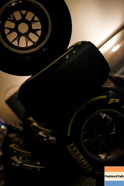 2011 Abu Dhabi Grand Prix - Saturday<br /> Yas Marina Circuit, Abu Dhabi, United Arab Emirates<br /> 12th November 2011.<br /> A stack of Pirelli tyres<br /> Photo: Charles Coates/LAT Photographic <br /> ref: Digital Image _Z9C7022