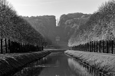 Autumn view of Prinz-Moritz-Kanal, Kleve (b/w)