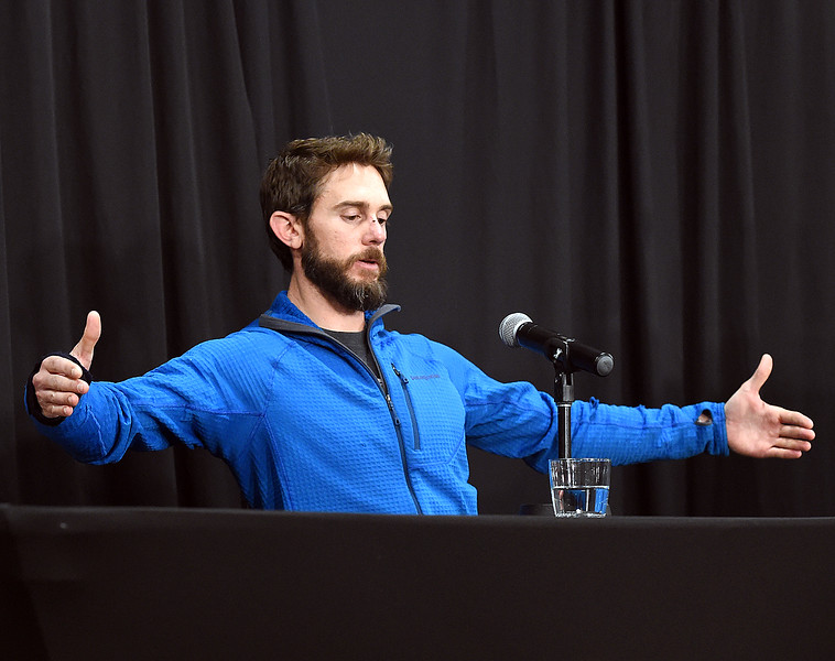 Travis Kauffman explains Thursday, Feb. 14, 2019, how big the mountain that attacked him was during a press conference in Fort Collins. (Photo by Jenny Sparks/Loveland Reporter-Herald)