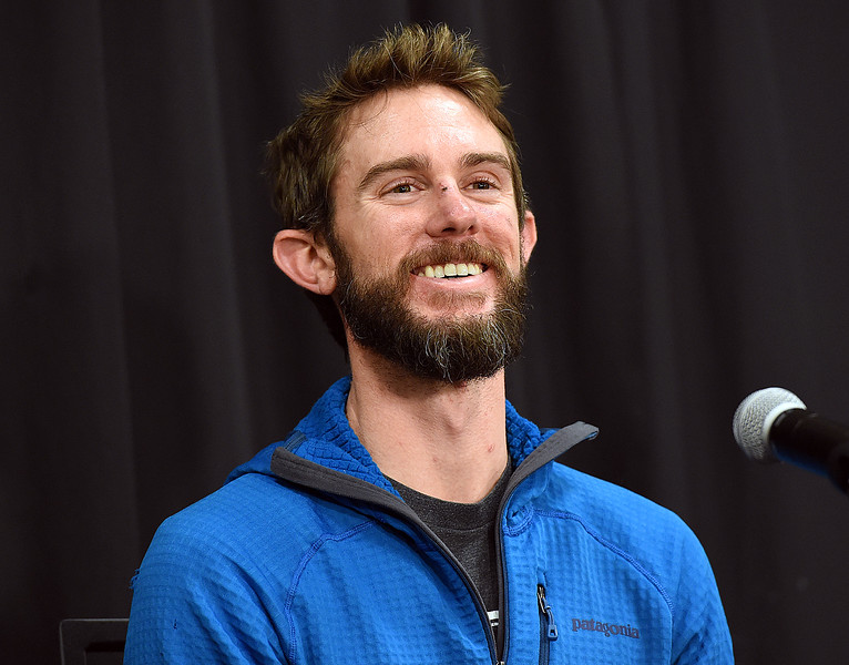 Travis Kauffman chuckles as he apologizes for not being as much like Chuck Norris as everyone might think Thursday, Feb. 14, 2019, before telling his account of how a mountain lion attacked him and how he fought back and killed the animal even though his right hand was locked in the lion's jaw.  (Photo by Jenny Sparks/Loveland Reporter-Herald)