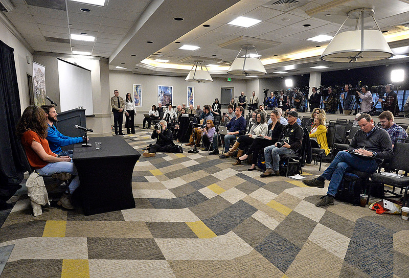 Members of the media listen as Travis Kauffman explains Thursday, Feb. 14, 2019, about how a mountain lion attacked him and how he fought back and killed the animal even though his right hand was locked in the lion's jaw.  (Photo by Jenny Sparks/Loveland Reporter-Herald)