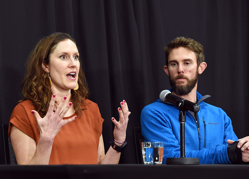 Annie Bierbower talks Thursday, Feb. 14, 2019, about how she was in disbelief when her boyfirend, Travis Kauffman, told her he was attacked by a mountain lion while running on a trail at Horsetooth Mountain Open Space. Kauffman ended up killing the animal by fighting back and eventually choking it by putting his foot on his neck until it stopped moving.  (Photo by Jenny Sparks/Loveland Reporter-Herald)