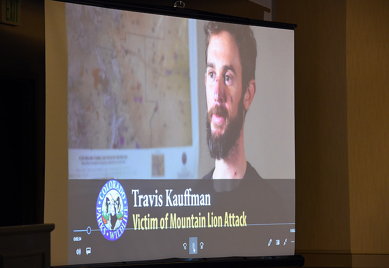 A frame from a video show Travis Kauffman Thursday, Feb. 14, 2019, who was attacked by a mountain lion, fought back and killed the animal even though his right hand was locked in the lion's jaw.  (Photo by Jenny Sparks/Loveland Reporter-Herald)