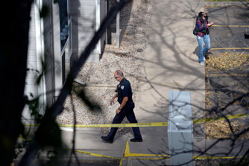 Fort Collins Police investigate a shooting Thursday, Oct. 19, 2017, at the Sunstone Apartments, 720 City Park Ave., in Fort Collins. Fort Collins Police confirm that three people died and one was injured in the early morning shooting.  (Photo by Jenny Sparks/Loveland Reporter-Herald)