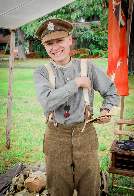 . Brenden LaFleur dresses the part for Fort Devens 100th Anniversary. SUN/Caley McGuane