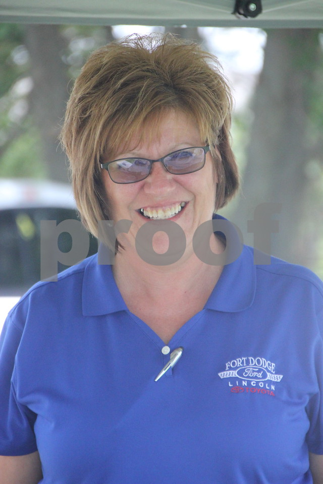 Sally Paine volunteers to help out with the Thursday, August 6, 2015 Fort Dodge Chamber of Commerce Golf Outing held at the Fort Dodge Country Club.