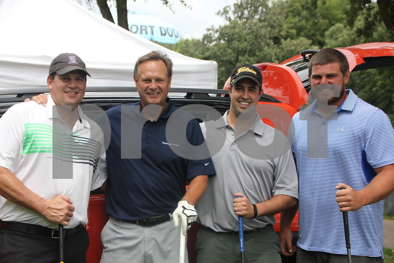 Pictured here are from Left to Right: Tim Doyle, Mark Jorgensen, Jake Crimmins, and Les Stucky, who participated in the Fort Dodge Chamber of Commerce Golf Outing held on Thursday, August 6, 2015, at the Fort Dodge Country Club.