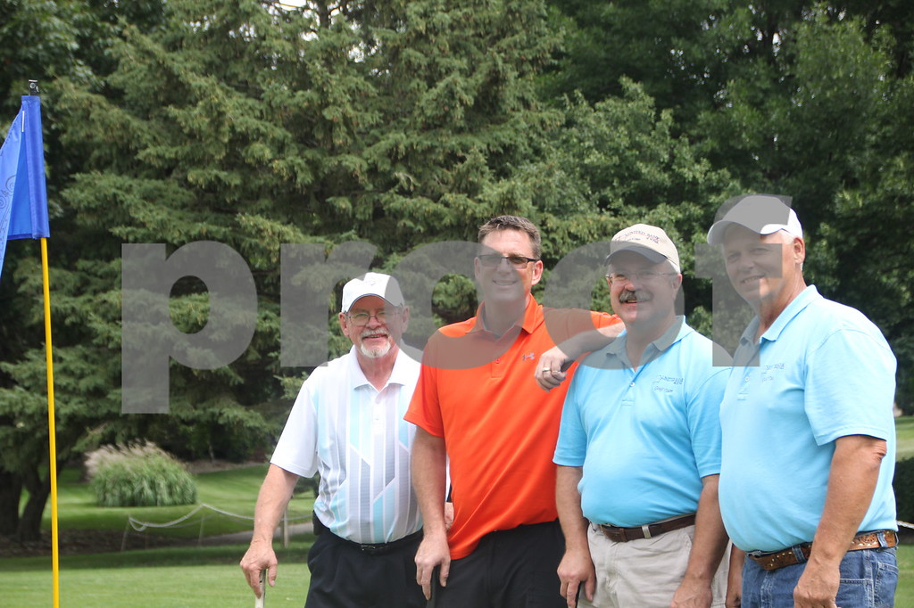 Seen here (Left to Right) are: Bill Ahrens, Mark Campbell, Rich Bahls, and Duane Handlos who  took part as a team in the Fort Dodge Chamber of Commerce Golf Outing held at the Fort Dodge Country Club on Thursday, August 6, 2015.
