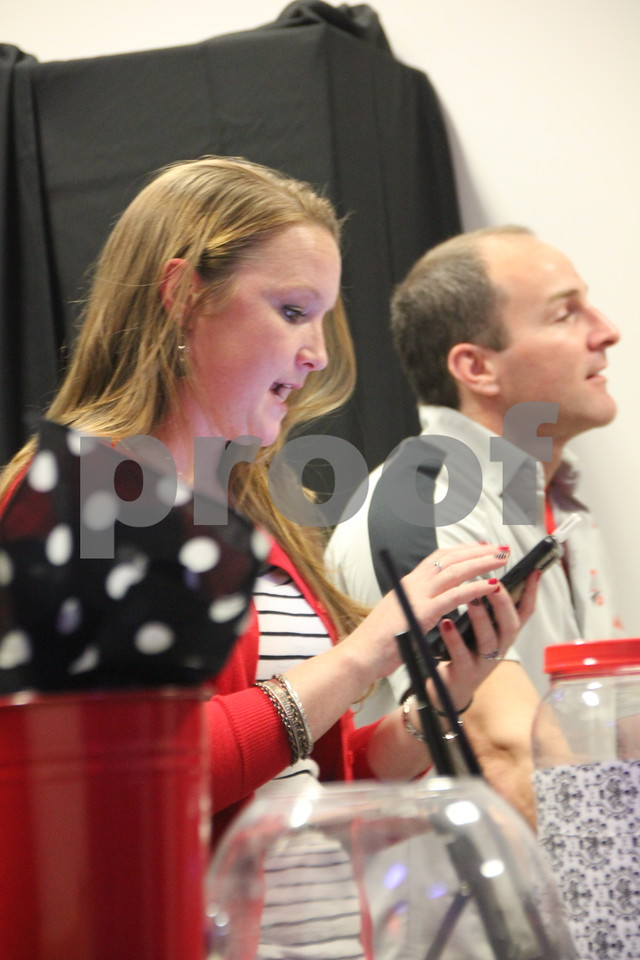 Saturday, April 9, 2016, the Fort Dodge Community School Foundation Dinner was held at Fort Frenzy in Fort Dodge. Seen pictured here is:(left to right) Jen Pederson and Jamie Johll who helped get attendees registered at the event.