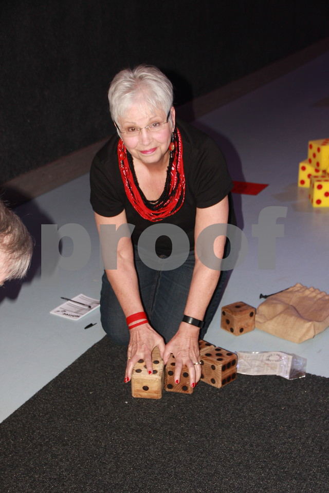 Saturday, April 9, 2016, the Fort Dodge Community School Foundation Dinner was held at Fort Frenzy in Fort Dodge. Pictured here is: Nancy Hamilton as she plays Yatzee. Yatzee was just one of the many games  provided at the event.